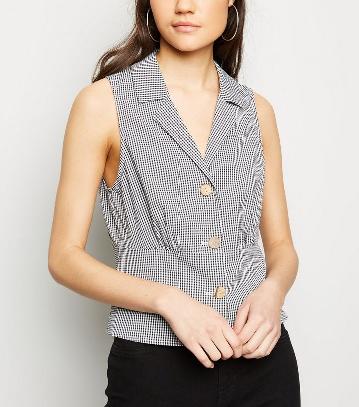 3a1d734c Black Gingham Sleeveless Shirt | New Look