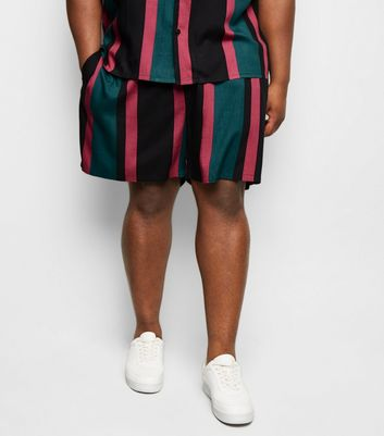 Plus Size Teal Stripe Tie Waist Shorts New Look