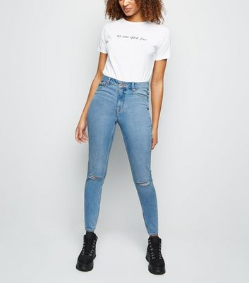 Tall Pale Blue Ripped Skinny Jenna Jeans