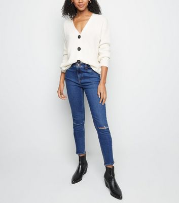 Tall Blue Ripped Knee Mid Rise Skinny Jeans