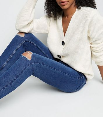 ba3d53eefb1 Tall Blue Ripped Knee Mid Rise Skinny Jeans New Look - New Look at Westquay  - Shop Online