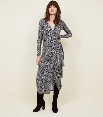 Tall Grey Snake Print Soft Touch Midi Dress