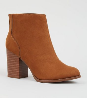 Wide Fit Tan Suedette Block Heel Western Boots