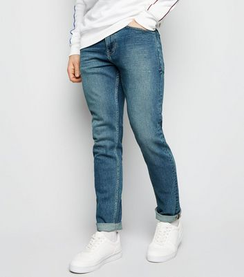 Navy Bleach Wash Slim Stretch Jeans