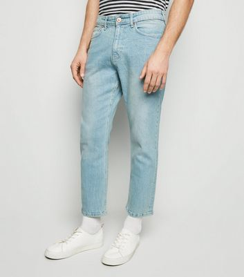 Pale Blue Bleach Wash Slim Crop Jeans