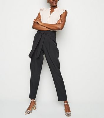Tall Black Tie Waist Tapered Trousers