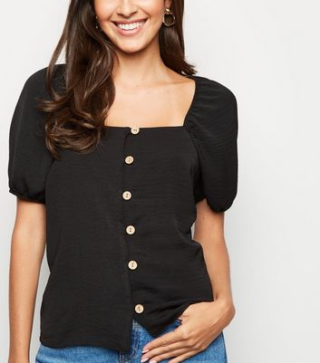 Black Square Neck Button Up Top