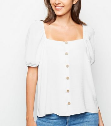 Off White Square Neck Button Up Top
