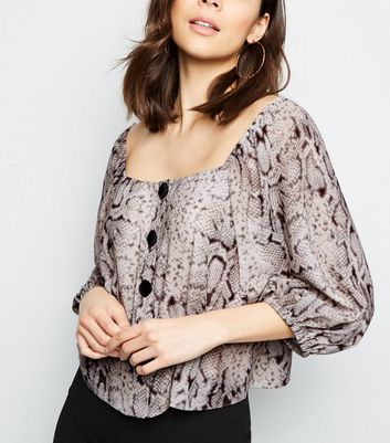 Grey Snake Print Square Neck Blouse