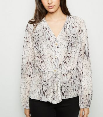 Light Grey Snake Print Belted Tie Waist Blouse