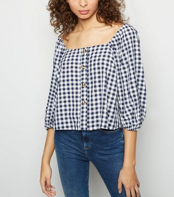 Blue Gingham Button Front Top