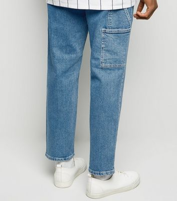 Blue Straight Leg Side Pocket Carpenter Jeans