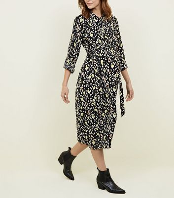 Maternity Black Leopard Print Shirt Dress