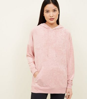 Pale Pink Towelling Oversized Hoodie