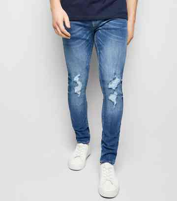 Superenge, zerrissene Skinny Stretchjeans in Blau