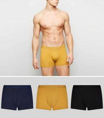3 Pack Black Navy and Mustard Trunks