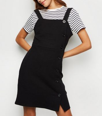 Black Bouclé Button Side Pinafore Dress