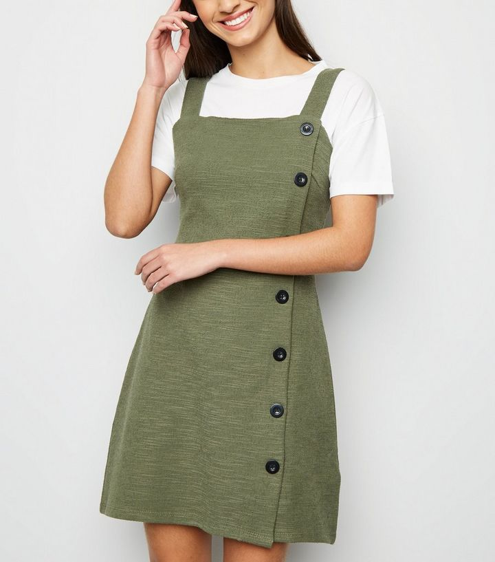 fbdca034e831 Khaki Bouclé Button Side Pinafore Dress | New Look