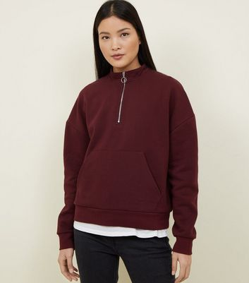 Burgundy Half Zip Funnel Neck Sweatshirt