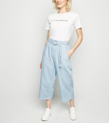 Blue Stripe Lightweight Denim Culottes by New Look