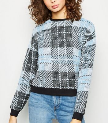 Blue Check Fine Knit Top