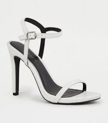 White Faux Croc 2 Part Stiletto Sandals