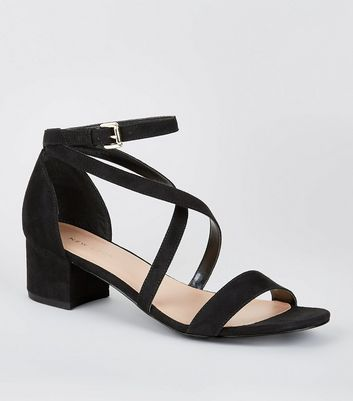 Black Cross Strap Low Block Heel Sandals