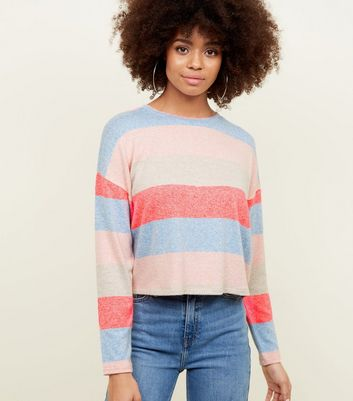 Multicoloured Neon Stripe Fine Knit Top