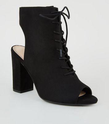 Comfort Flex Peep Toe Lace Up Heels