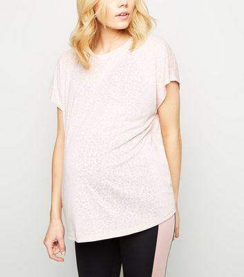 Maternity Pale Pink Burnout Leopard Print Sports T-Shirt