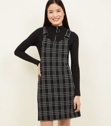 Black Check Square Buckle Pinafore Dress