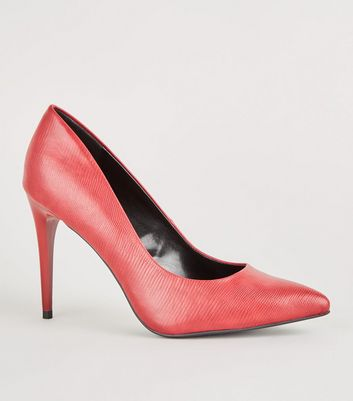 Red Faux Snakeskin Stiletto Courts
