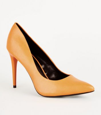 Mustard Faux Snakeskin Stiletto Courts