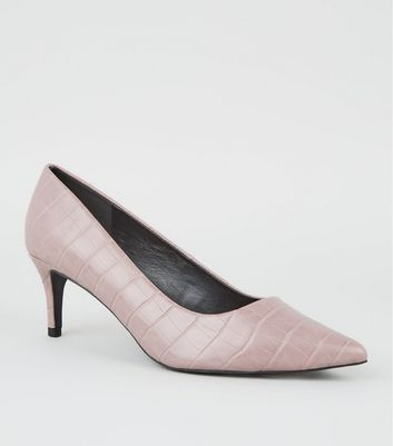 Lilac Faux Croc Leather-Look Stiletto Courts