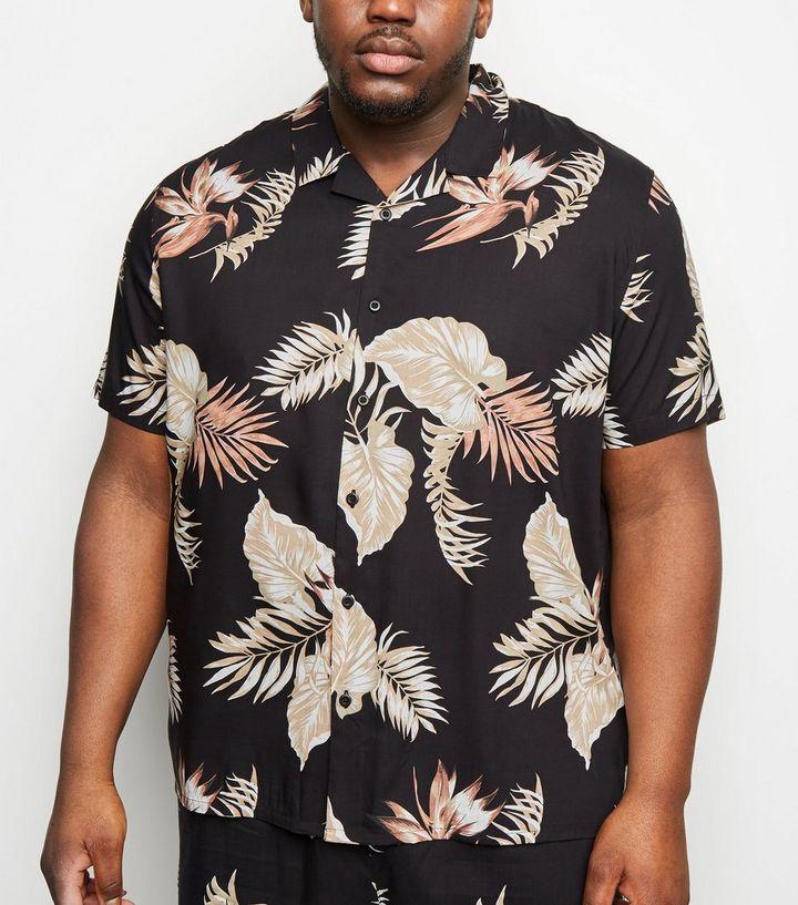 179e22612 Plus Size Black Floral Short Sleeve Shirt
