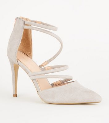 Grey Suedette Tube Strap Pointed Courts
