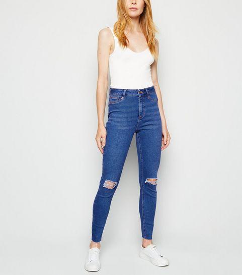 0b2e1e0c770 ... Blue High Rise Ripped Super Skinny Hallie Jeans ...