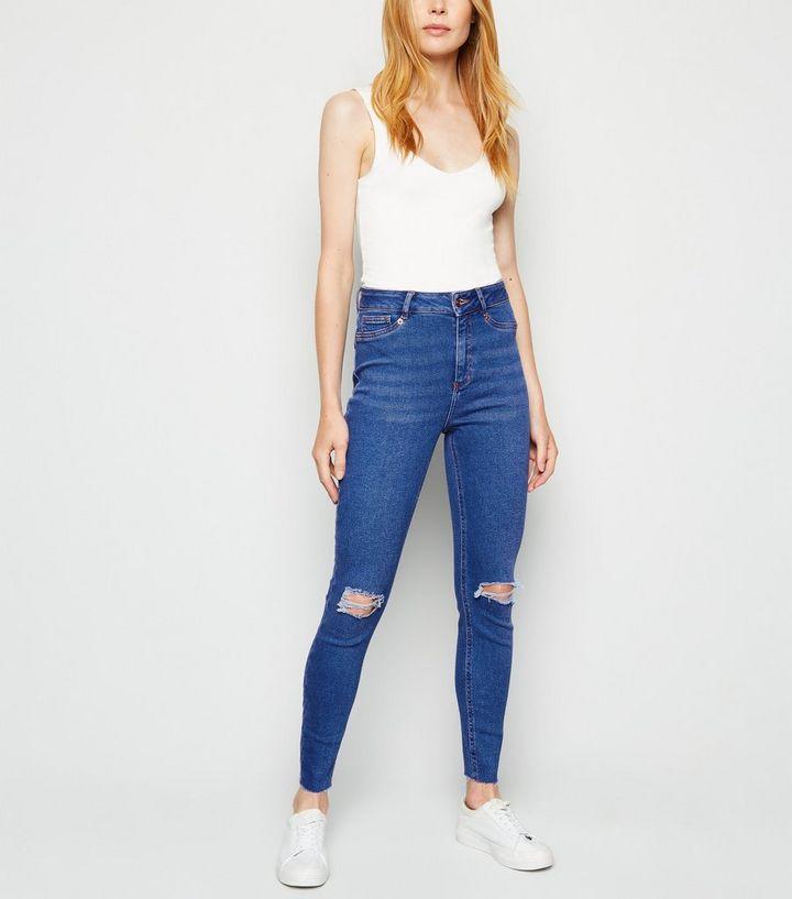 b724e79d6f827 Blue Ripped Super Skinny Hallie Jeans | New Look