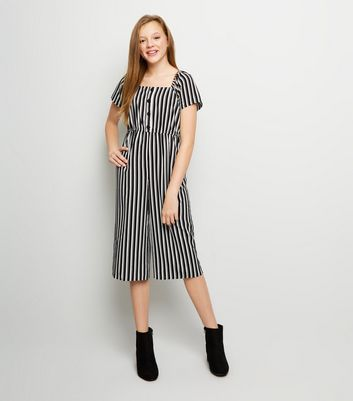 Girls Black Stripe Square Neck Jumpsuit