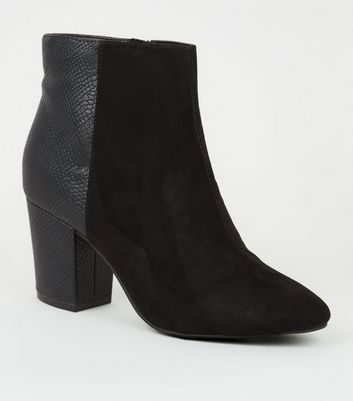 Black Suedette and Faux Croc Ankle Boots