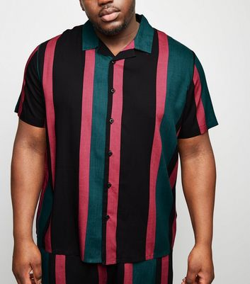 Plus Size Black Stripe Print Revere Shirt