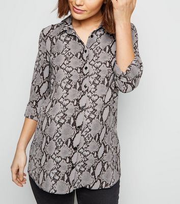 Maternity Light Grey Snake Print Long Sleeve Shirt