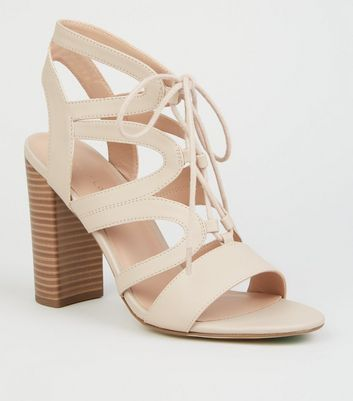 Nude Leather-Look Lace Up Ghillie Block Heels