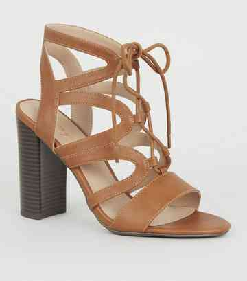 Tan Leather-Look Lace Up Ghillie Block Heels