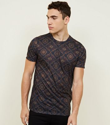 Navy Tile Print T-Shirt