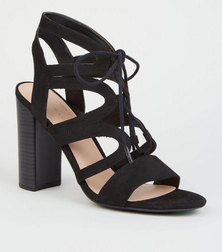 3985ed1e033c Black Suedette Lace Up Ghillie Block Heels