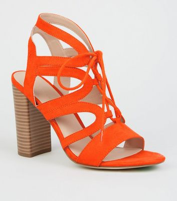 Orange Suedette Lace Up Ghillie Block Heels