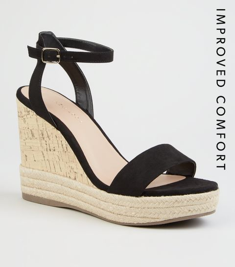 8c17d0723aa9 ... Black Suedette Espadrille Trim Cork Wedges ...
