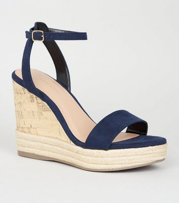 Navy Suedette Espadrille Trim Cork Wedges