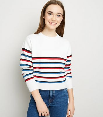 Girls Off White Multi Stripe Jumper
